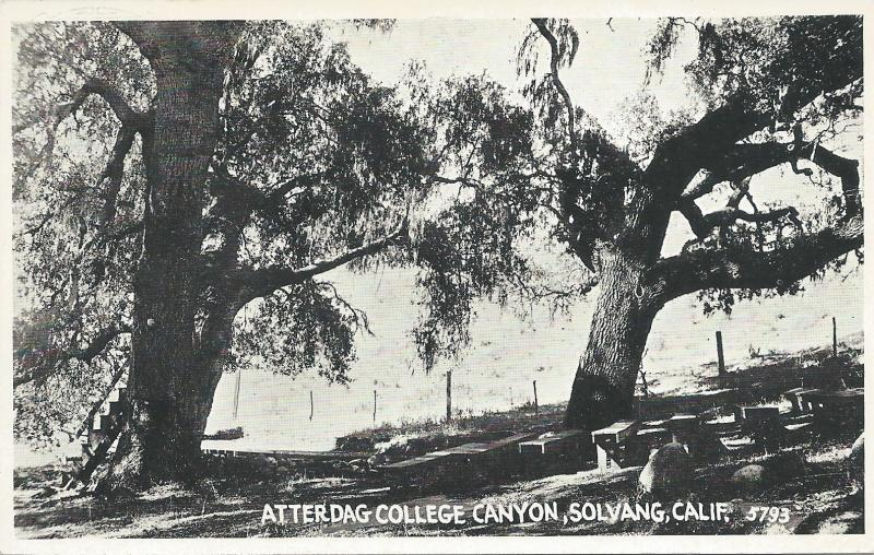 Atterdag College Canyon, Solvang, California. early real photo postcard, Unused