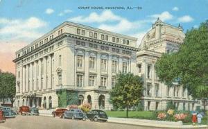 Court House, Rockford, Illinois 1950 used Postcard