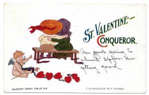 St Valentine Conqueror F Derbes Vintage 1907 Postcard Cupid