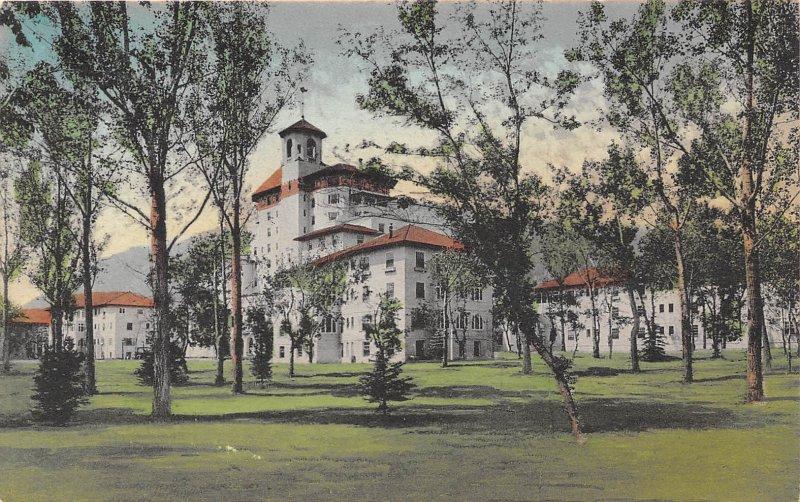 Broadmoor Hotel Colorado Springs Colorado hand colored postcard