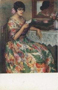 Woman portrait , 1900-10s ; #28A ; Artist Juan Cardona