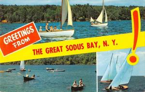 Great Sodus bay New York Greetings Sailboats Vintage Postcard JA4741691