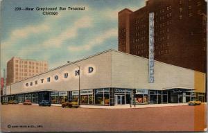 Chicago IL New Art Deco Greyhound Bus Terminal~Stineway Drugstore~1950 Linen