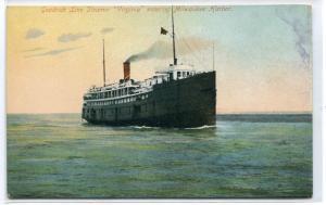 Steamer Virginia Goodrich Line Milwaukee Harbor Wisconsin 1910c postcard