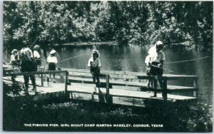 1940s CONROE Texas Postcard GIRL SCOUT CAMP Fishing Pier View Artvue Unused