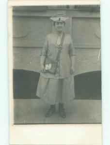 rppc 1920's Fashion WOMAN CARRYING HANDBAG PURSE AC8514