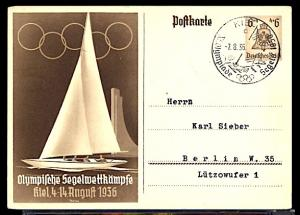 Summer Olympic Games Berlin 1936 Official PC Cancelled at the Kiel Sailing Venue