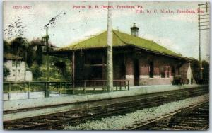 Freedom, Pennsylvania Postcard Penna. Railroad Depot Train Station 1910 Cancel