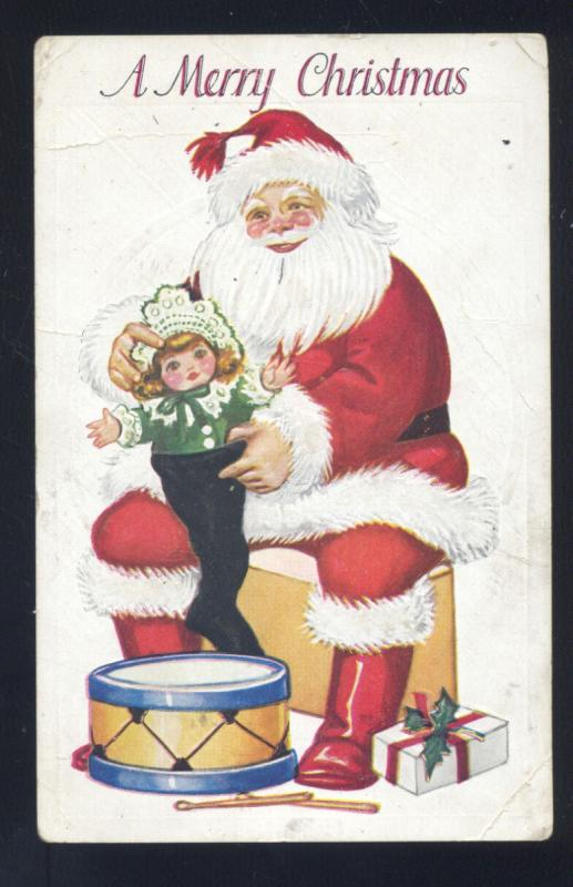 A MERRY CHRISTMAS SANTA CLAUS LARGE RED ROBE DRUM TOYS VINTAGE POSTCARD OLD