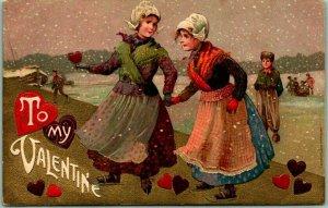 VALENTINE'S DAY Greetings Postcard Dutch Girls / Affectionate Women c1910s
