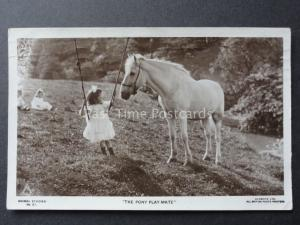 Little Girl on Swing with Pony THE PONY PLAYMATE c1919 RP Postcard