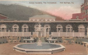 LPS70 Hot Springs Virginia The Homestead Italian Gardens Postcard Hand Colored