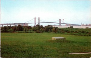 Wilmington Delaware Postcard 1960's Delaware Memorial Bridge Chrome MG