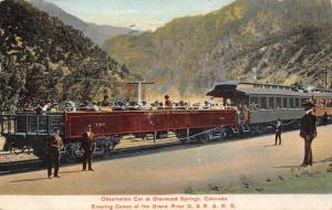 Glenwood Springs CO~Folks Pack Into D&RG RR Observation Car~Train Conductor~1908