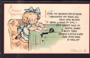 Meery Christmas Girl Writing Letter Drayton
