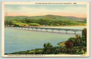 Northville-Batchellerville New York~New Bridge over Sacandaga Reservoir~1947