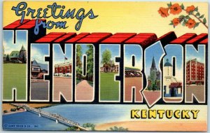 Greetings from LEXINGTON Kentucky KY~large letter linen~harness horse racing
