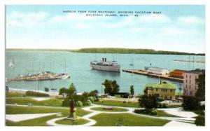 Harbor from Fort Mackinac, Mackinac Island, MI Postcard *5N23