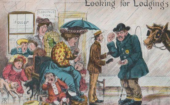 Looking For Lodgings Place House To Rent Homeless Antique Comic Humour Postard