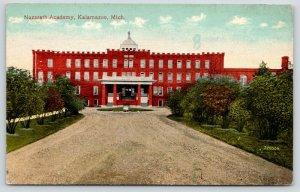 Kalamazoo Michigan~Nazareth Academy~Shrubs Along Driveway~c1910 Postcard