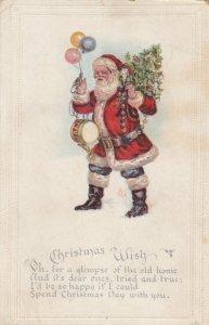 CHRISTMAS, 1918 ; Santa Claus , drum , balloons & Tree