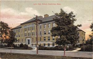 Cambridge Massachusetts~Latin High School~Sign by Street~1907 Postcard