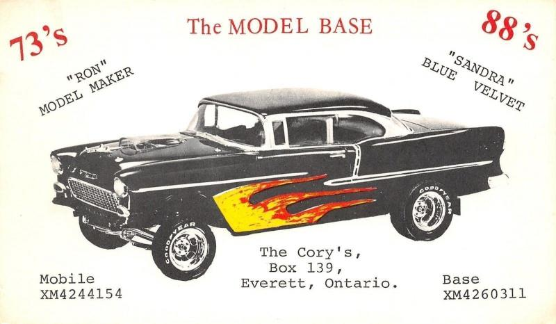 Everett Ontario~QSL w/1955 Chevy Bel-Air~Flame Decals~Clear Hood Scoop~Postcard