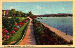 Pennsylvania Harrisburg View Along Riverfront Park Curteich