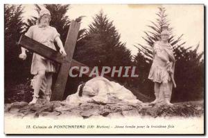 Old Postcard Calvary of Pontchateau Jesus falls the third time