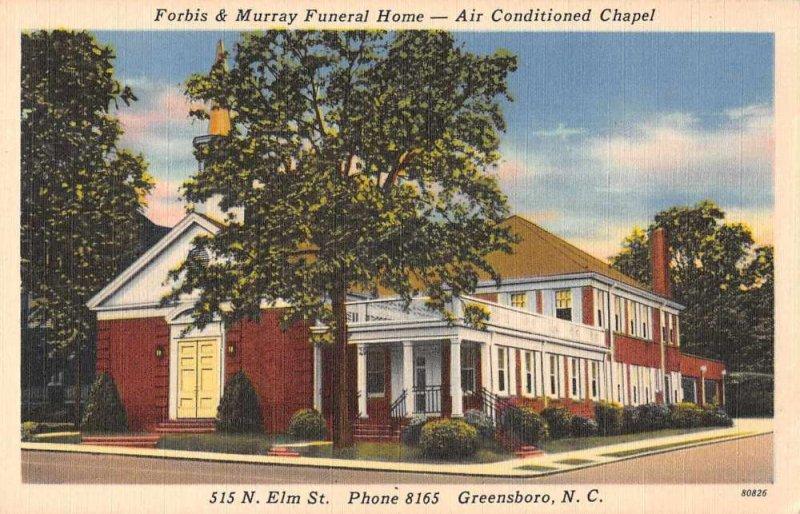 Greensboro North Carolina Forbis and Murray Funeral Home Postcard JJ649020