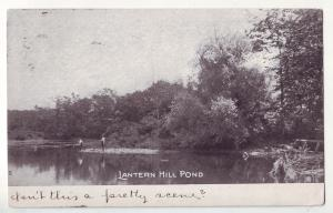 P642 JLs old card postmarked mystic conn. fishing latern hill pond