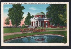Virginia colour PC Monticello Home of Thomas Jefferson  unused