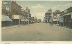 c1910 Phoenix Arizona Center Street North View Hand Colored Albertype Postcard
