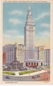 Ohio Cleveland Union Terminal Tower Showing Soldiers and Sailors Monument Cur...