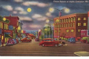 P1686 vintage unused old cars union sq @ night lewiston maine full moon