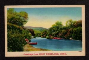 CT Greetings from EAST HARTLAND CONN Postcard Linen Postcard Connecticut