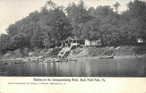 Rock Point Park PA~Conoquenessing River Boating~Ladies on Gazebo Steps Down~1905