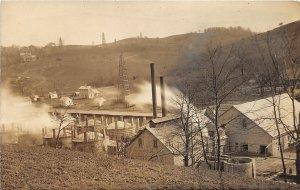 G30/ Pennsylvania? RPPC Postcard c1910 Factory Oil Wells Derricks Pottery?