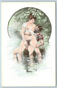 Postcard French Risque Man Woman Nude Action Cartoon Making Love in Water Q16