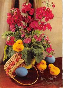 Herzliche Ostergrusse, Flowers Little Chickens Eggs Happy Easter