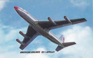 Underside of 707 Astrojet Flying Through Air, Passenger Jet, American Airline...