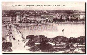 Switzerland Geneve Old Postcard Perspective of the Mont Blanc bridge and swore
