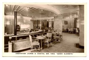 Cunard Line - RMS Queen Elizabeth, Observation Lounge & Cocktail Bar *RPPC