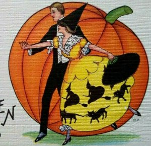Vintage Halloween Postcard Dancing Lady Witches Cat Dress Stecher 419 C Unposted