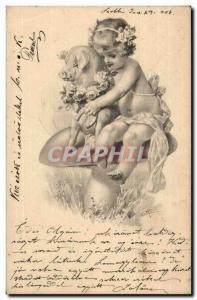 Fantasy - Bebe - Pig - Baby hugging a lucky pig Old Postcard (Hungarian chart...