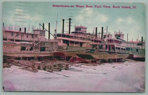 Rock Island Illinois~Steamboats on Ways~Boat Yard in Snow~Gravel Co~c1910