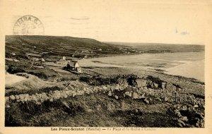 France - Les Pieux-Sciotot. The Beach, La Roche a Coucou.  (US Army Passed Ce...