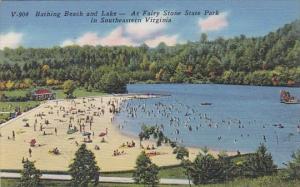 Virginia Bathing Beach And Lake At Fairy Stone State Park In Southeastern Vir...