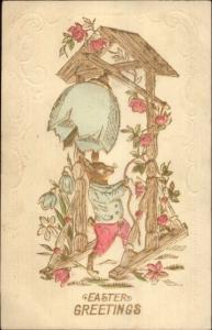 Fantasy Rabbit Rings Egg Shell Bell Gilt Finish EASTER c1910 Postcard rpx