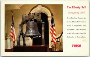 TWA Trans World Airlines LINEN Adv. Postcard Liberty Bell Philadelphia c1951